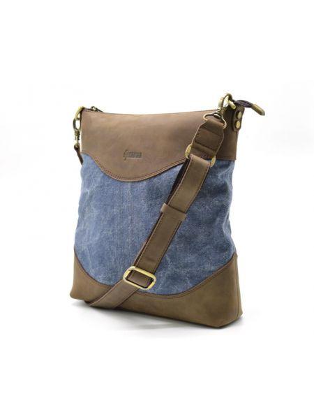 Мужская сумка через плечо, мессенджер парусина+кожа RK-1807-4lx TARWA