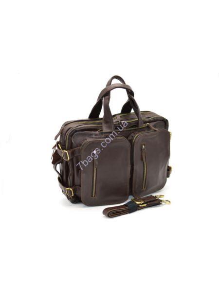 Мужская кожаная сумка-рюкзак трансформер TARWA, GC-7014-1md