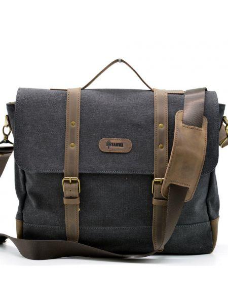 Мужская сумка-портфель для ноутбука, кожа и парусина RG-0001-4lx TARWA